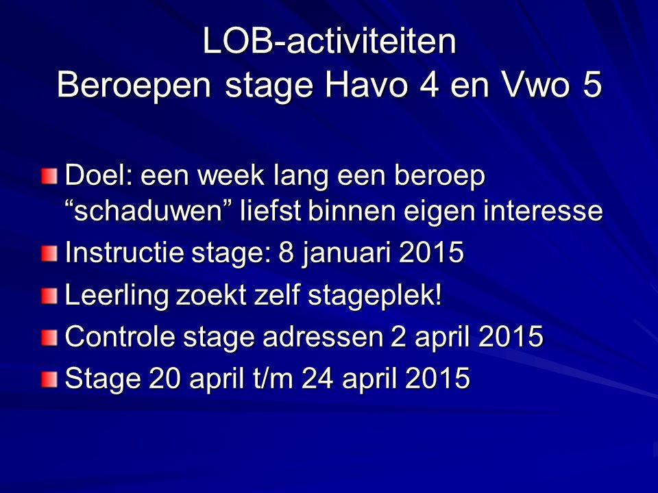 LOB-activiteiten Beroepen stage Havo 4 en Vwo 5