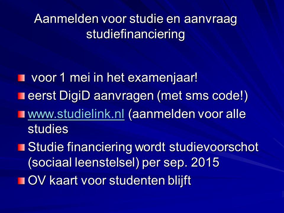 Aanmelden voor studie en aanvraag studiefinanciering