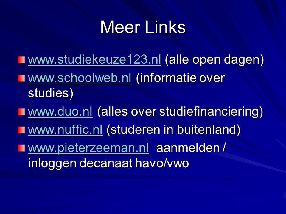 Meer Links www.studiekeuze123.nl (alle open dagen)