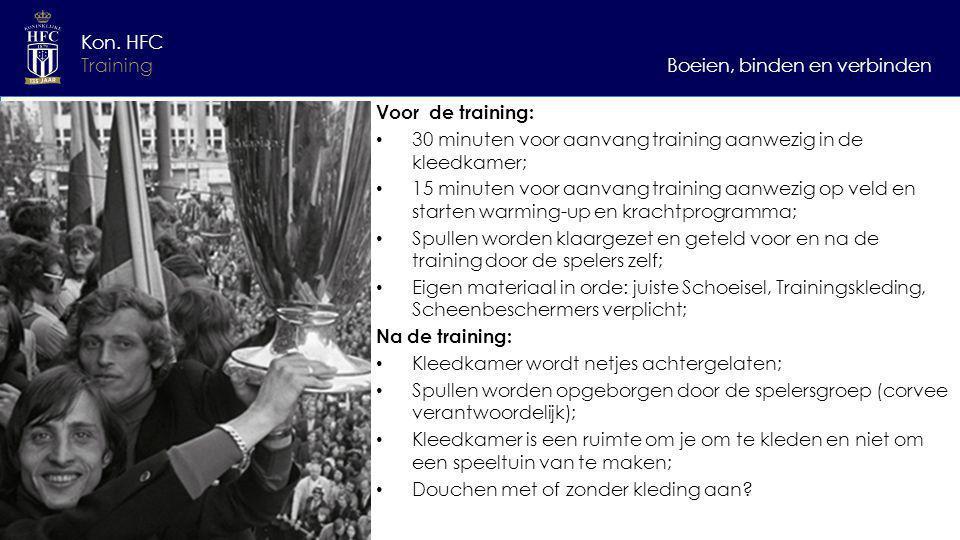 Kon. HFC Training. Boeien, binden en verbinden. Voor de training: 30 minuten voor aanvang training aanwezig in de kleedkamer;