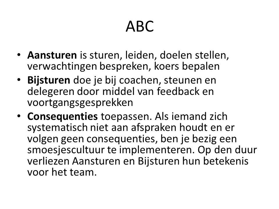 ABC Aansturen is sturen, leiden, doelen stellen, verwachtingen bespreken, koers bepalen.