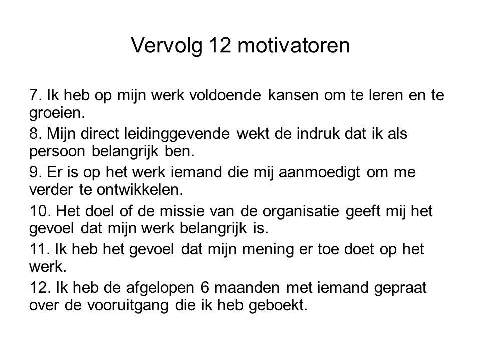 Vervolg 12 motivatoren