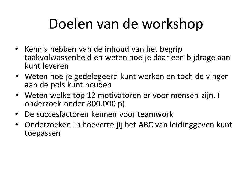 Doelen van de workshop Kennis hebben van de inhoud van het begrip taakvolwassenheid en weten hoe je daar een bijdrage aan kunt leveren.