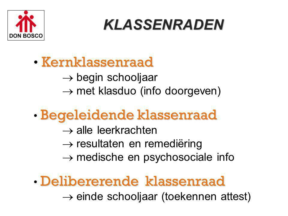 KLASSENRADEN Kernklassenraad  begin schooljaar  met klasduo (info doorgeven)