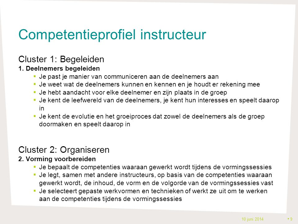 Competentieprofiel instructeur
