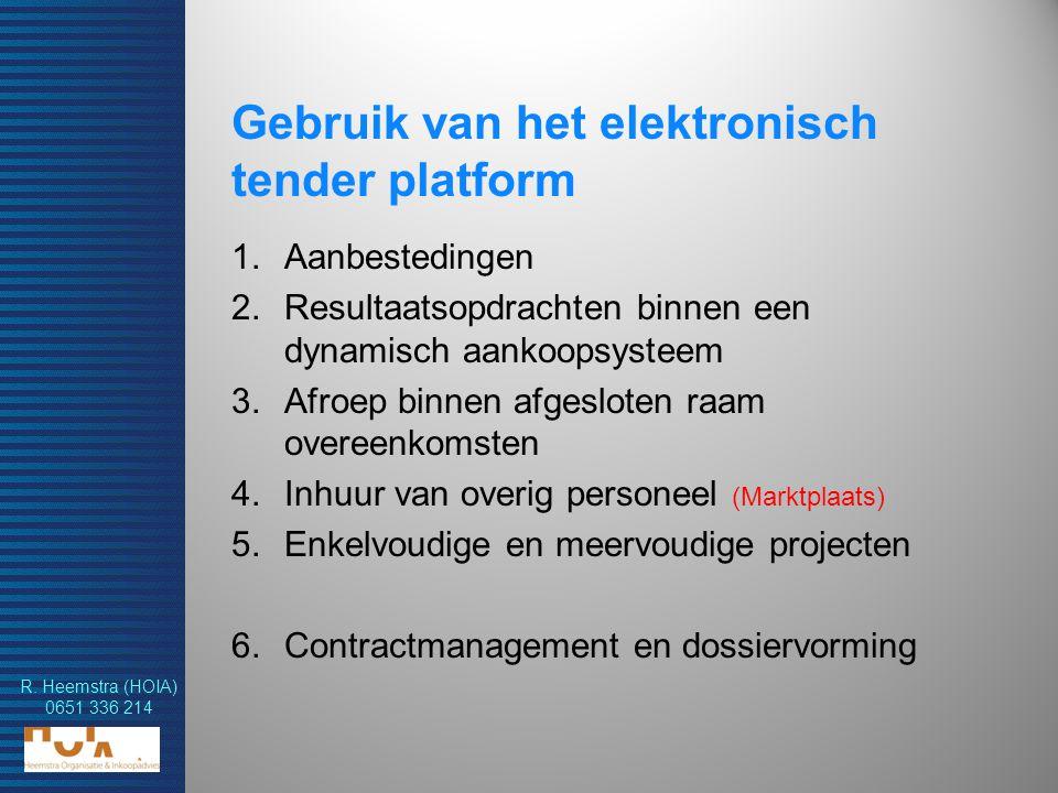 Gebruik van het elektronisch tender platform