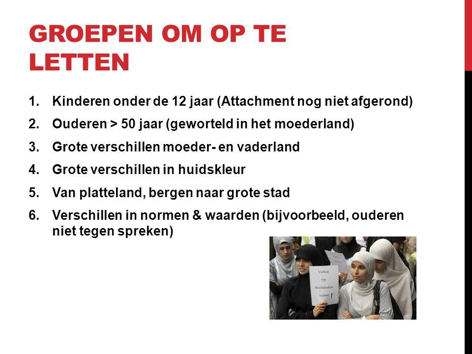 Groepen om op te letten Kinderen onder de 12 jaar (Attachment nog niet afgerond) Ouderen > 50 jaar (geworteld in het moederland)