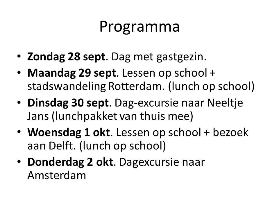 Programma Zondag 28 sept. Dag met gastgezin.
