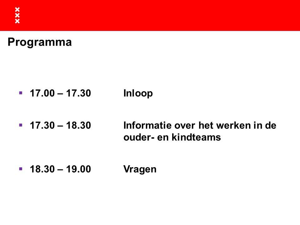 Programma 17.00 – 17.30 Inloop. 17.30 – 18.30 Informatie over het werken in de ouder- en kindteams.