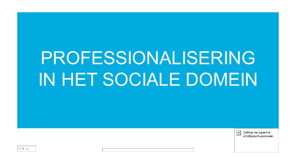 PROFESSIONALISERING IN HET SOCIALE DOMEIN