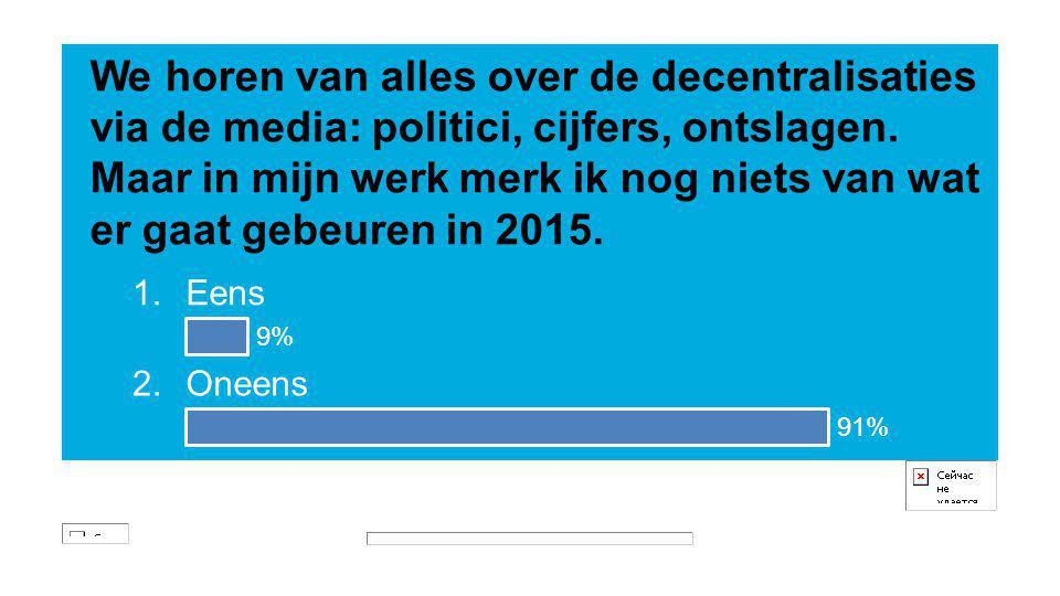 We horen van alles over de decentralisaties via de media: politici, cijfers, ontslagen. Maar in mijn werk merk ik nog niets van wat er gaat gebeuren in 2015.