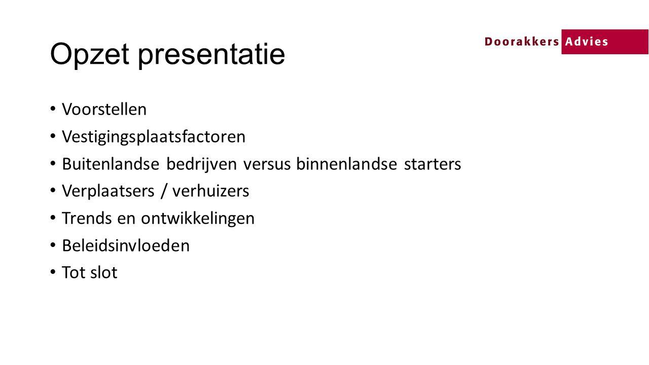 Opzet presentatie Voorstellen Vestigingsplaatsfactoren
