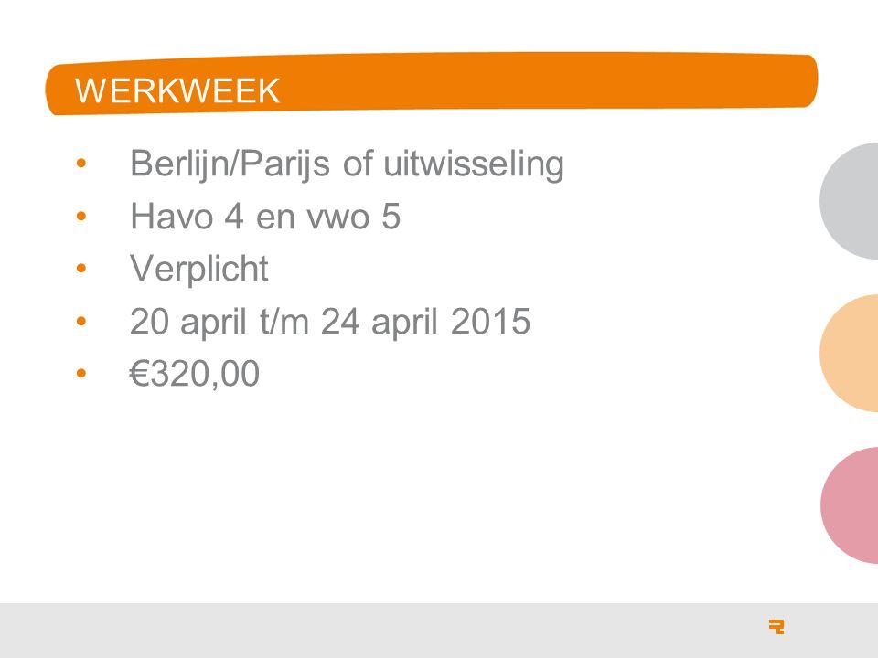 Berlijn/Parijs of uitwisseling Havo 4 en vwo 5 Verplicht