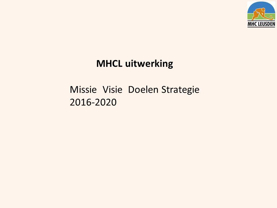 MHCL uitwerking Missie Visie Doelen Strategie 2016-2020