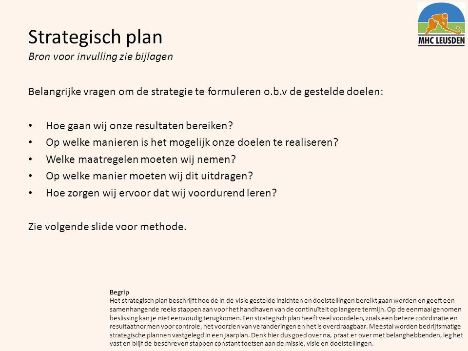 Strategisch plan Bron voor invulling zie bijlagen