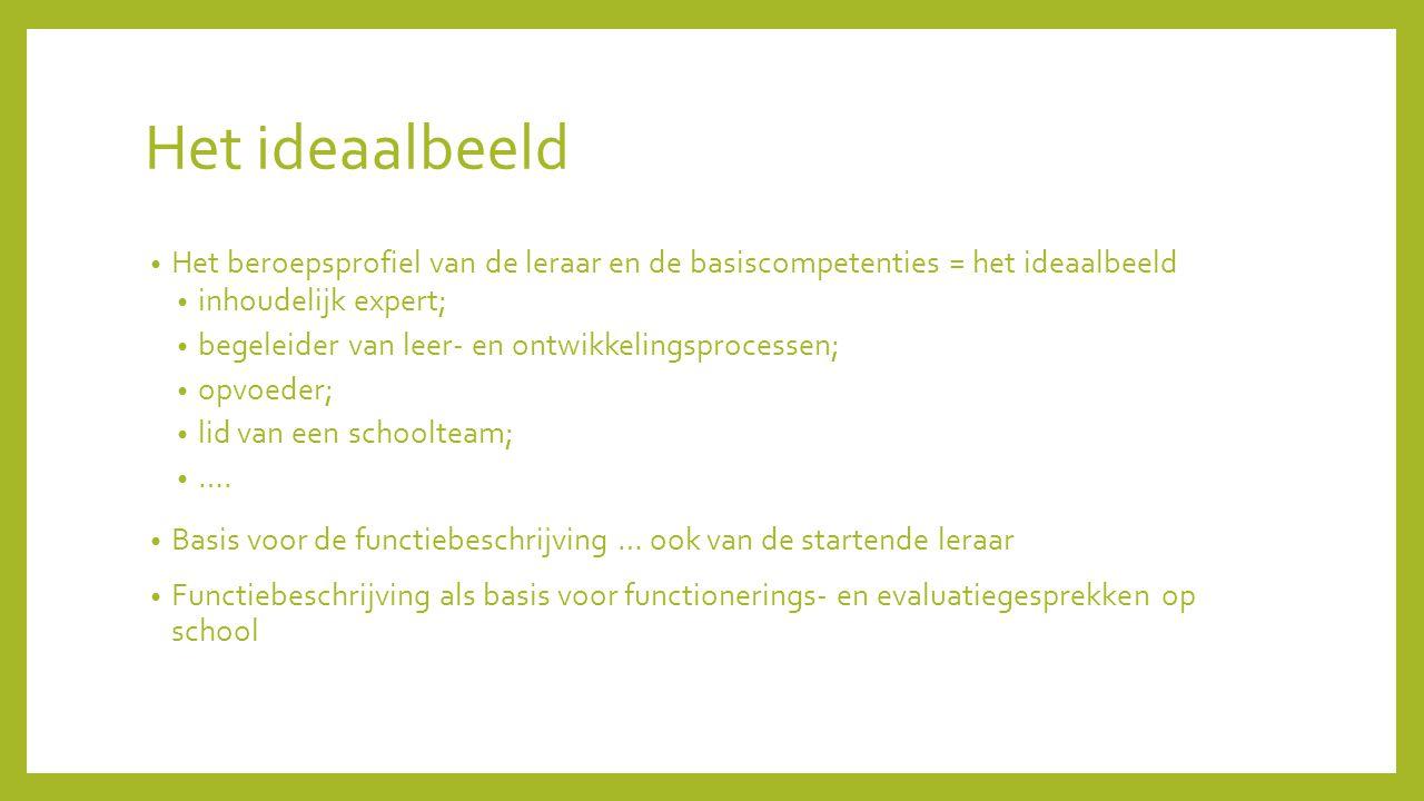 Het ideaalbeeld Het beroepsprofiel van de leraar en de basiscompetenties = het ideaalbeeld. inhoudelijk expert;