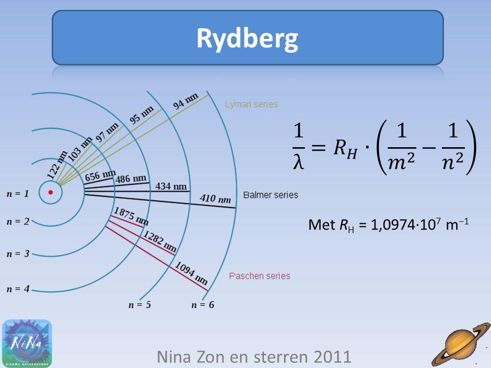 Rydberg 1 λ = 𝑅 𝐻 ∙ 1 𝑚 2 − 1 𝑛 2 Nina Zon en sterren 2011