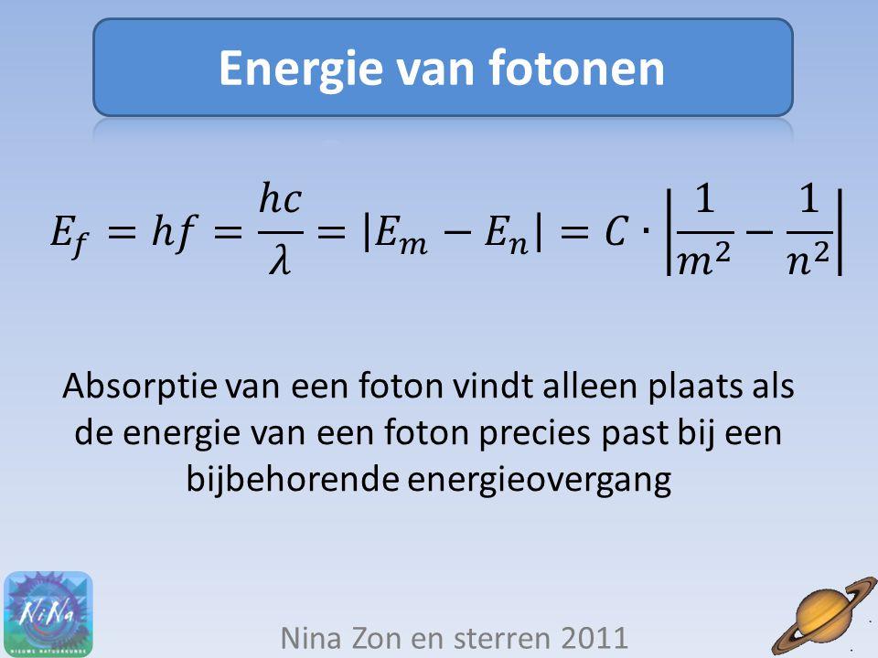 Energie van fotonen 𝐸 𝑓 =ℎ𝑓= ℎ𝑐 𝜆 = 𝐸 𝑚 − 𝐸 𝑛 =𝐶∙ 1 𝑚 2 − 1 𝑛 2