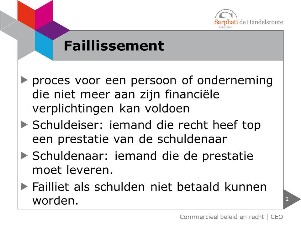Faillissement proces voor een persoon of onderneming die niet meer aan zijn financiële verplichtingen kan voldoen.