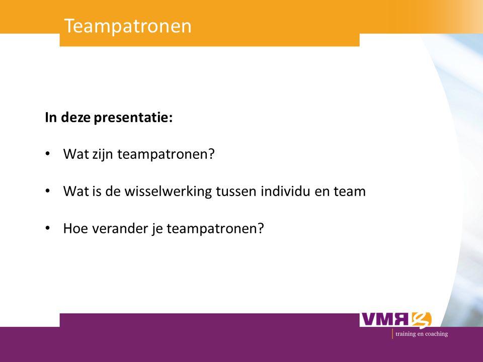 Teampatronen In deze presentatie: Wat zijn teampatronen