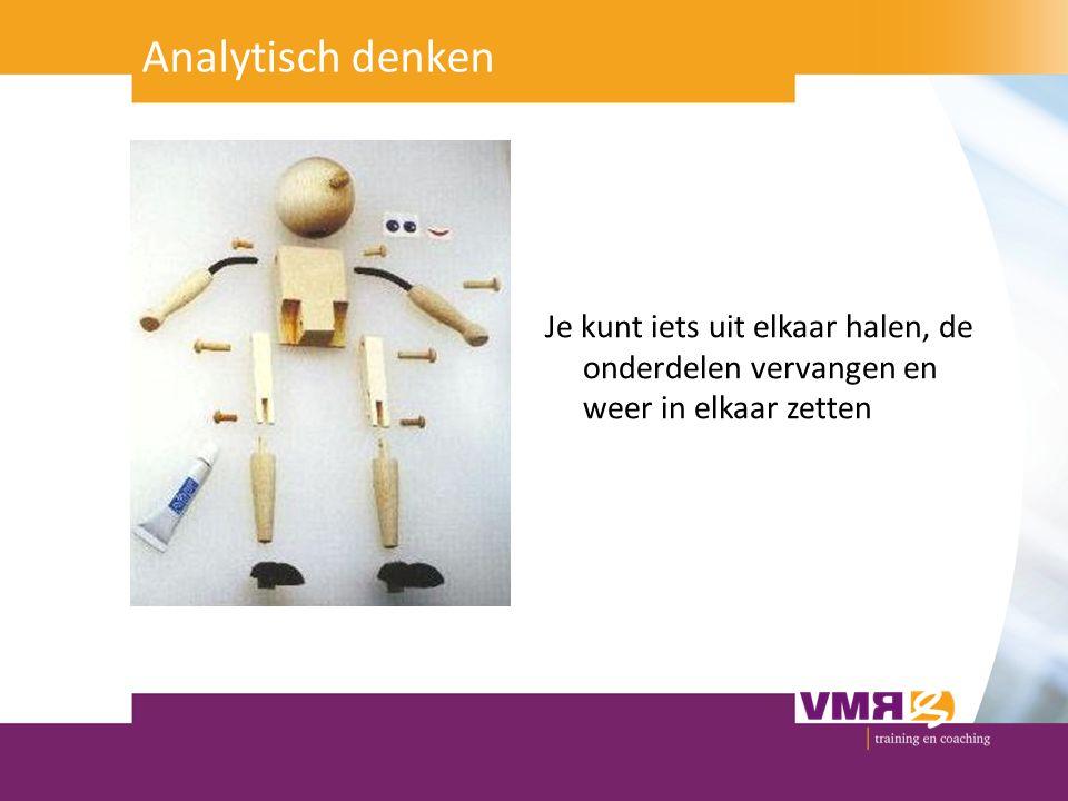 Analytisch denken Je kunt iets uit elkaar halen, de onderdelen vervangen en weer in elkaar zetten.