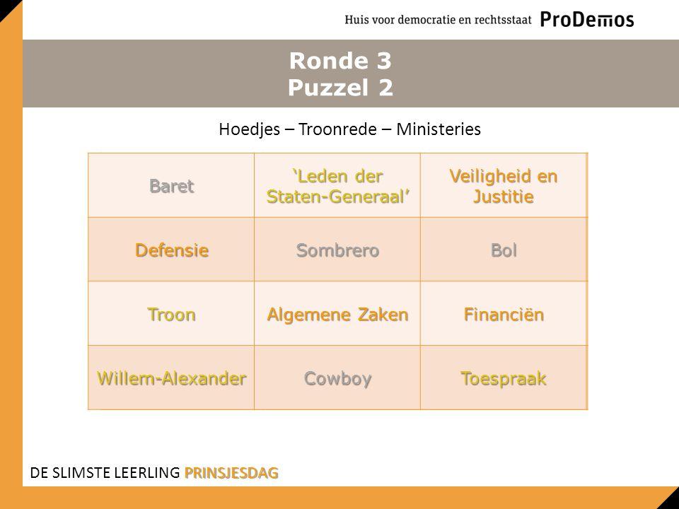 Ronde 3 Puzzel 2 Hoedjes – Troonrede – Ministeries Baret