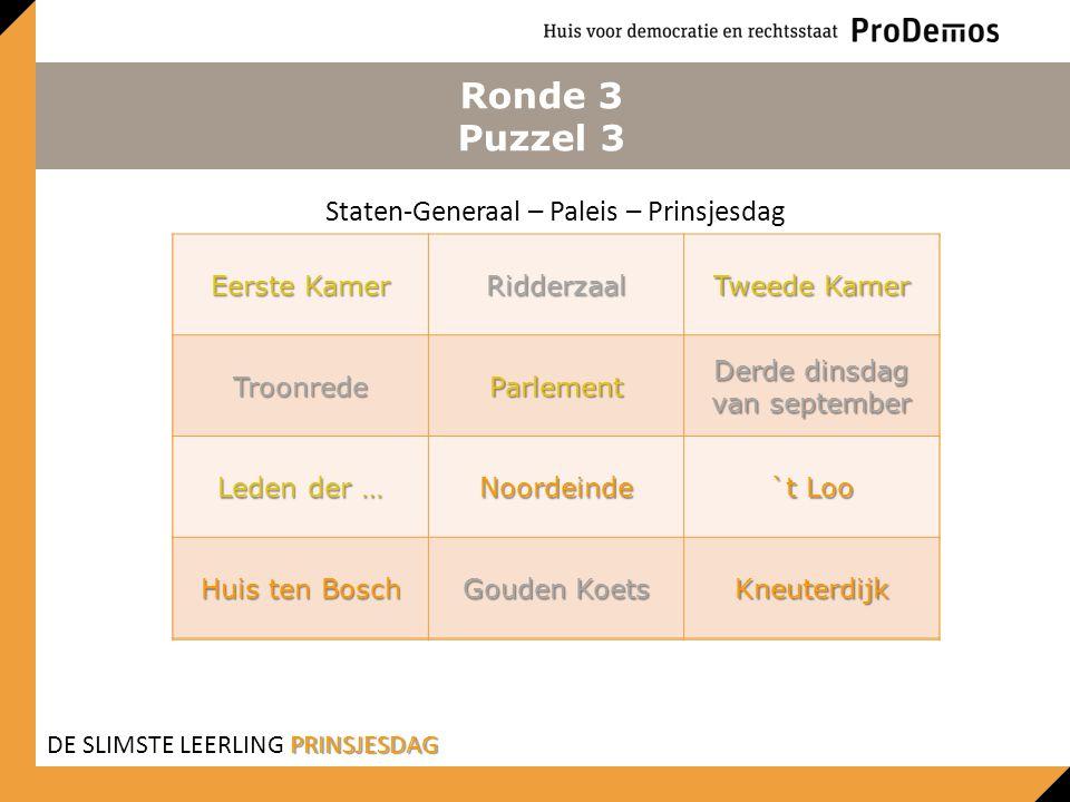 Ronde 3 Puzzel 3 Staten-Generaal – Paleis – Prinsjesdag Eerste Kamer