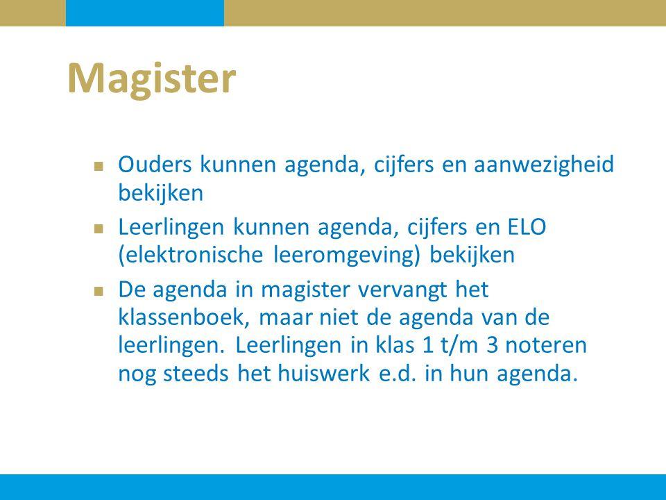 Magister Ouders kunnen agenda, cijfers en aanwezigheid bekijken