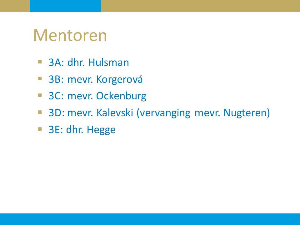 Mentoren 3A: dhr. Hulsman 3B: mevr. Korgerová 3C: mevr. Ockenburg