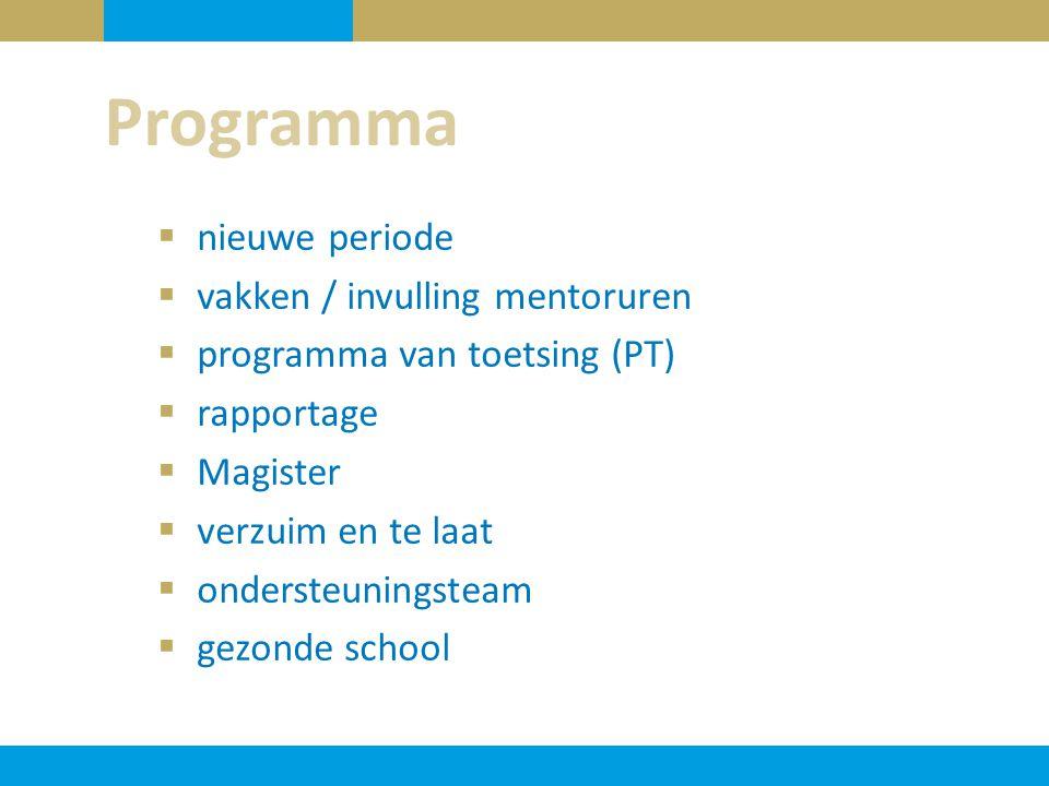Programma nieuwe periode vakken / invulling mentoruren