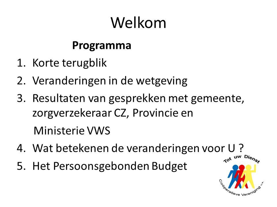 Welkom Programma Korte terugblik Veranderingen in de wetgeving