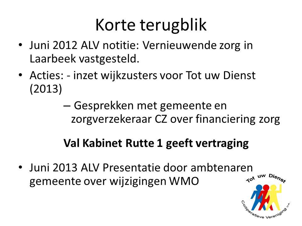 Korte terugblik Juni 2012 ALV notitie: Vernieuwende zorg in Laarbeek vastgesteld. Acties: - inzet wijkzusters voor Tot uw Dienst (2013)