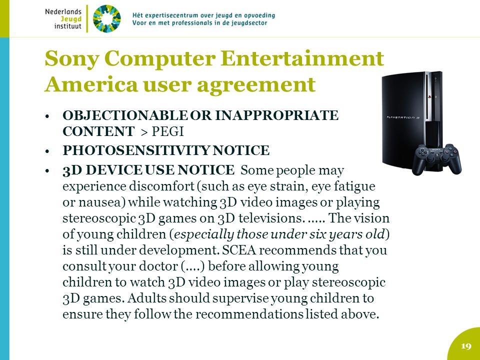Sony Computer Entertainment America user agreement