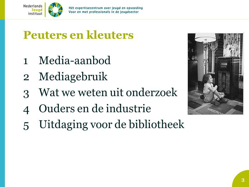 Peuters en kleuters Media-aanbod. Mediagebruik. Wat we weten uit onderzoek. Ouders en de industrie.