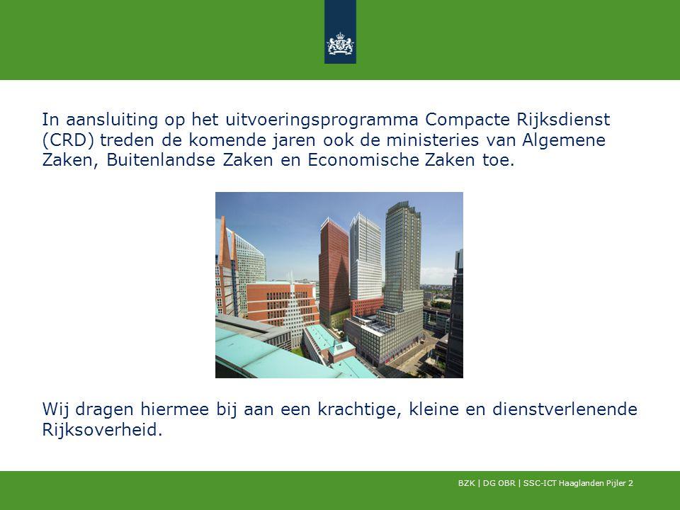 In aansluiting op het uitvoeringsprogramma Compacte Rijksdienst (CRD) treden de komende jaren ook de ministeries van Algemene Zaken, Buitenlandse Zaken en Economische Zaken toe.