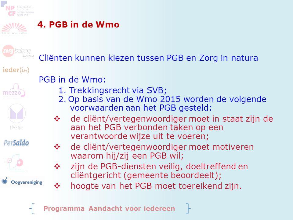 Cliënten kunnen kiezen tussen PGB en Zorg in natura PGB in de Wmo: