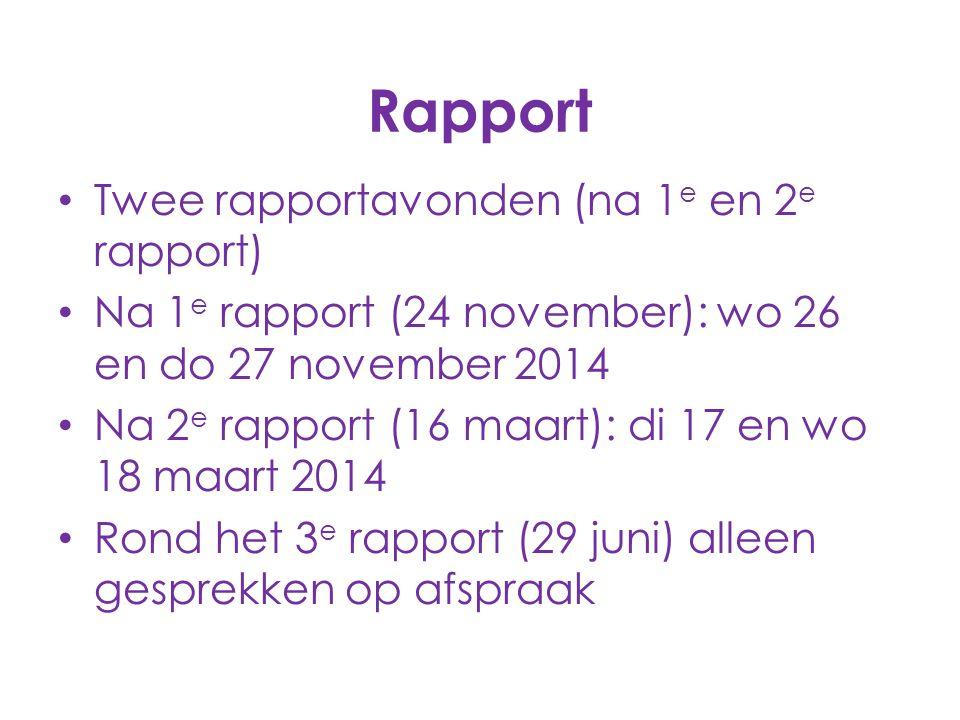 Rapport Twee rapportavonden (na 1e en 2e rapport)