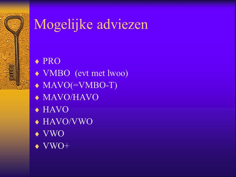 Mogelijke adviezen PRO VMBO (evt met lwoo) MAVO(=VMBO-T) MAVO/HAVO