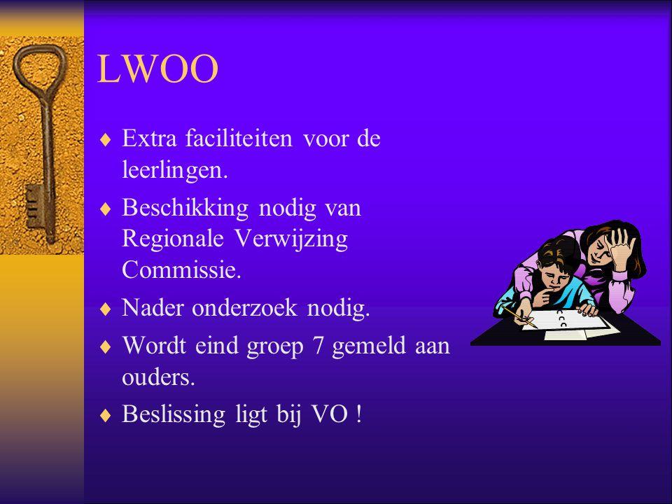 LWOO Extra faciliteiten voor de leerlingen.