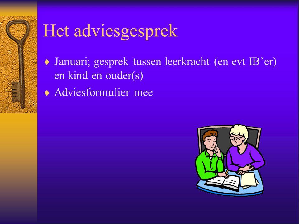 Het adviesgesprek Januari; gesprek tussen leerkracht (en evt IB'er) en kind en ouder(s) Adviesformulier mee.