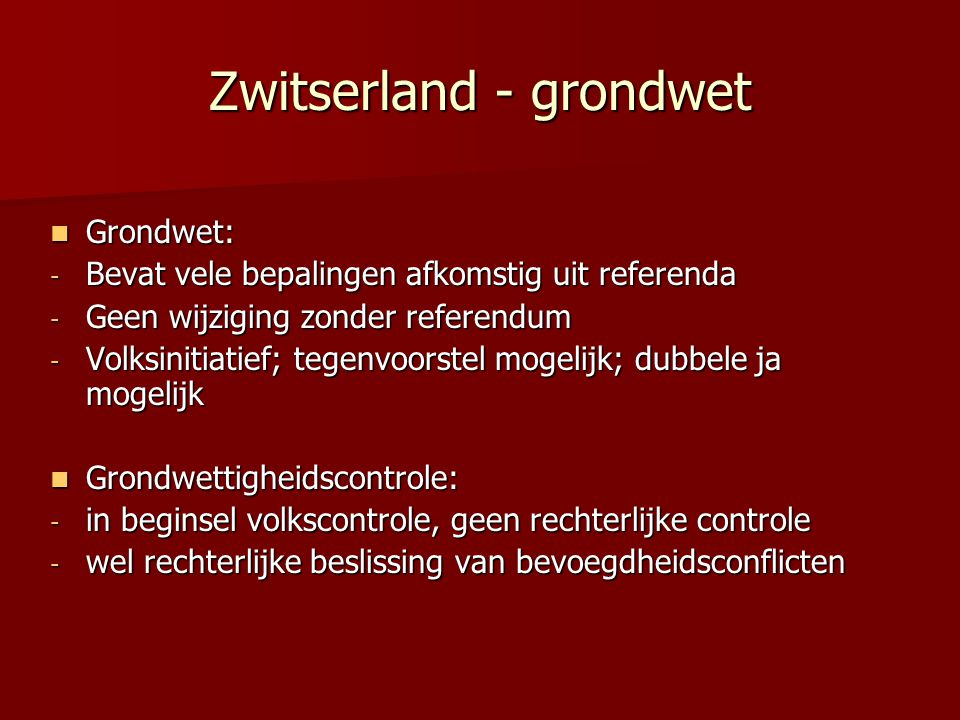 Zwitserland - grondwet