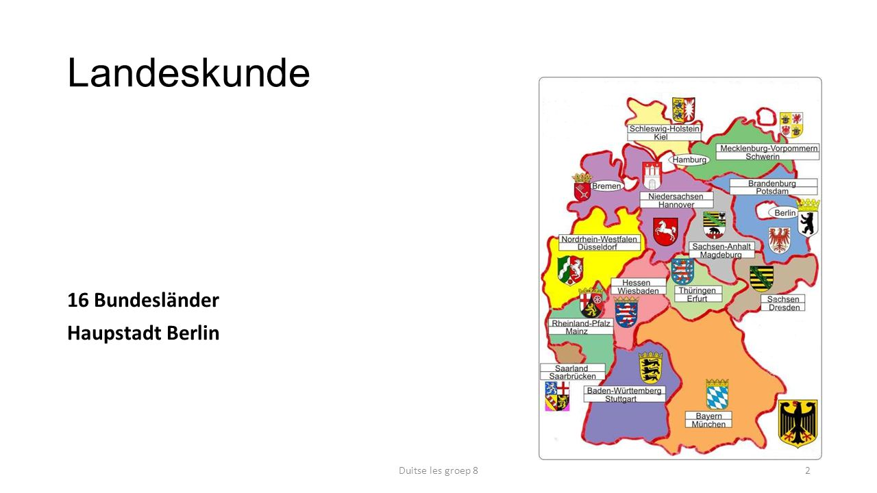 Landeskunde 16 Bundesländer Haupstadt Berlin Duitse les groep 8