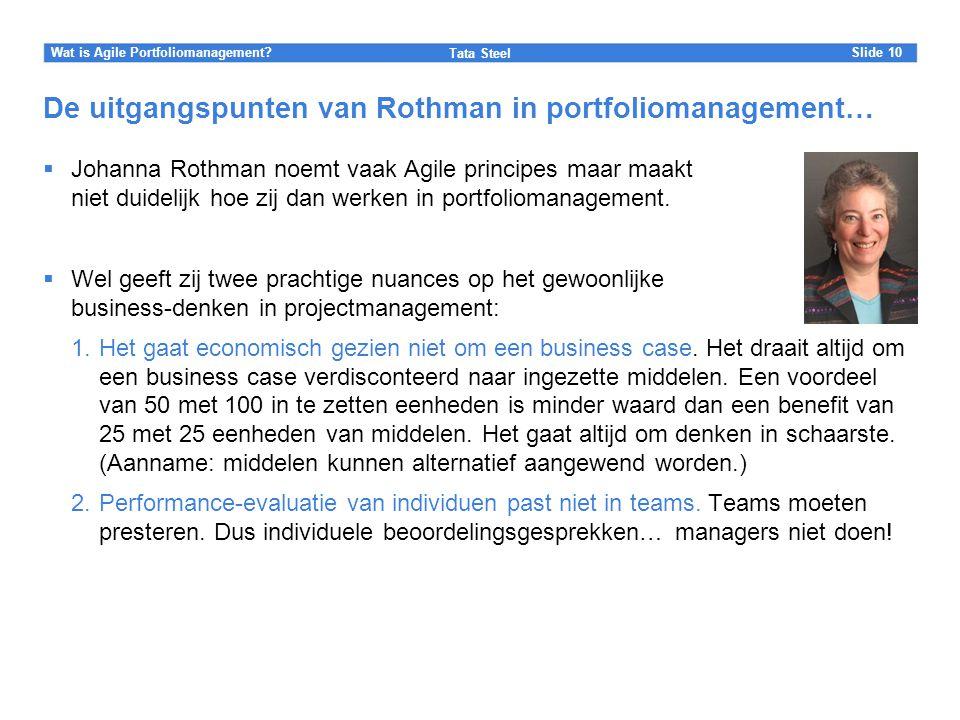 De uitgangspunten van Rothman in portfoliomanagement…