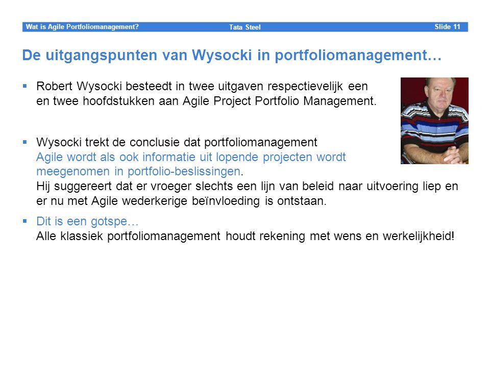 De uitgangspunten van Wysocki in portfoliomanagement…