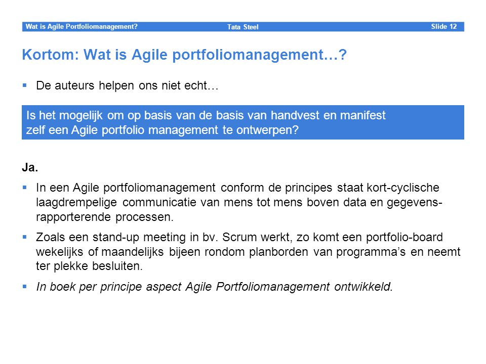 Kortom: Wat is Agile portfoliomanagement…