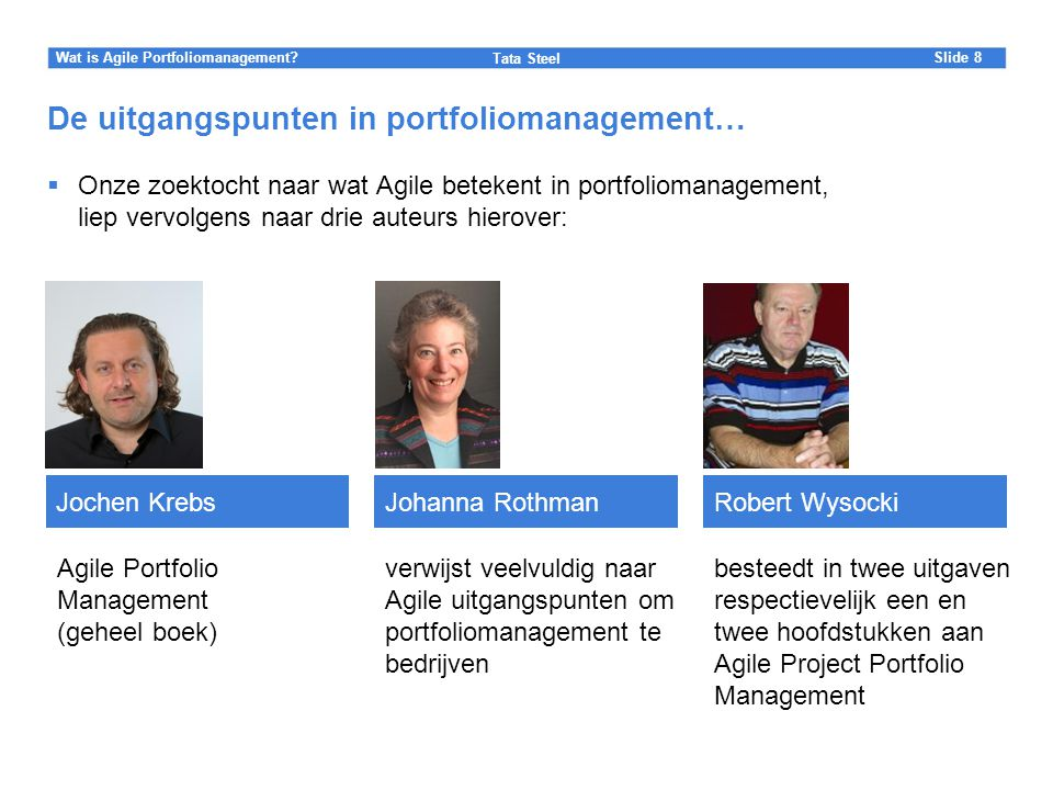 De uitgangspunten in portfoliomanagement…