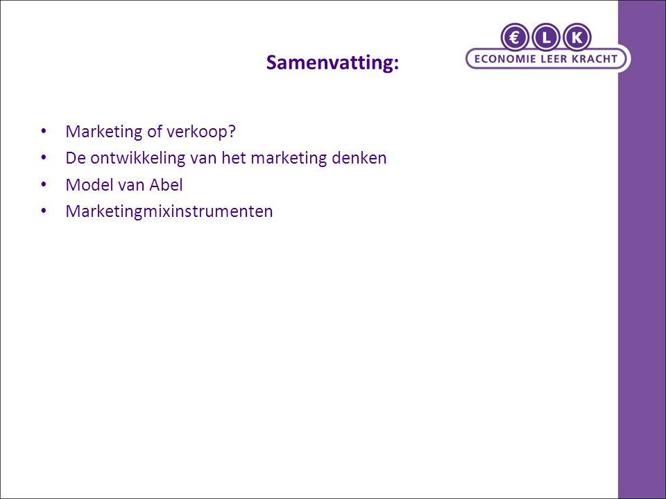 Samenvatting: Marketing of verkoop