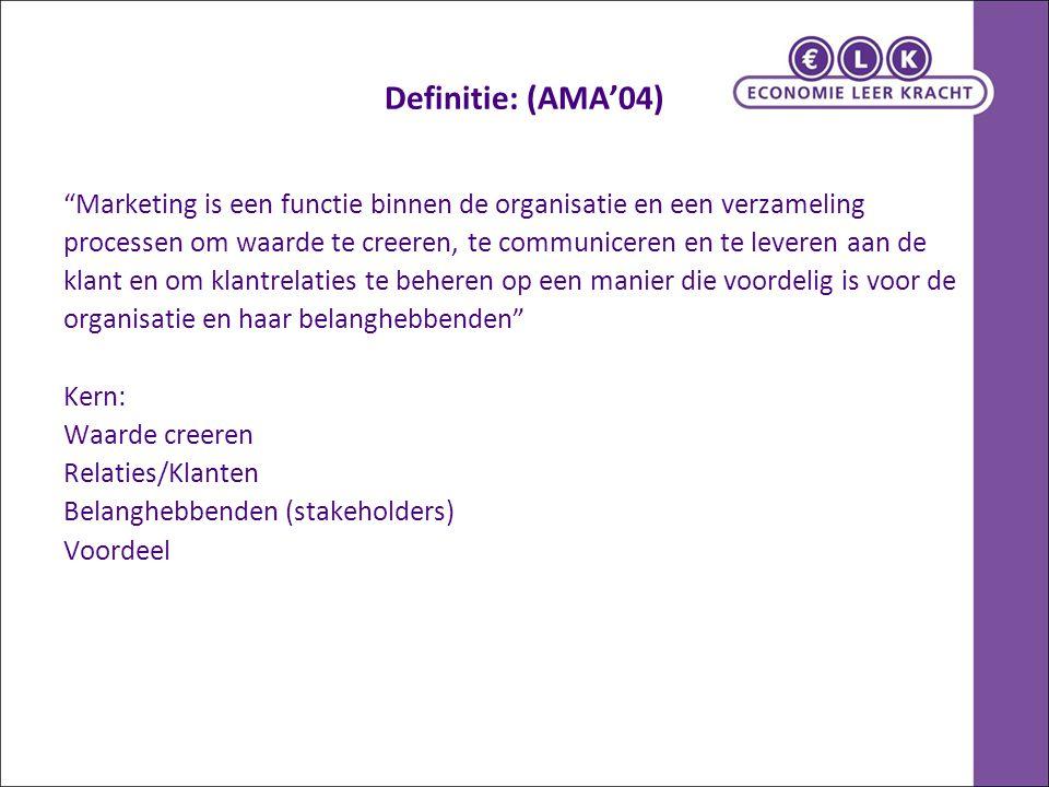 Definitie: (AMA'04) Marketing is een functie binnen de organisatie en een verzameling.