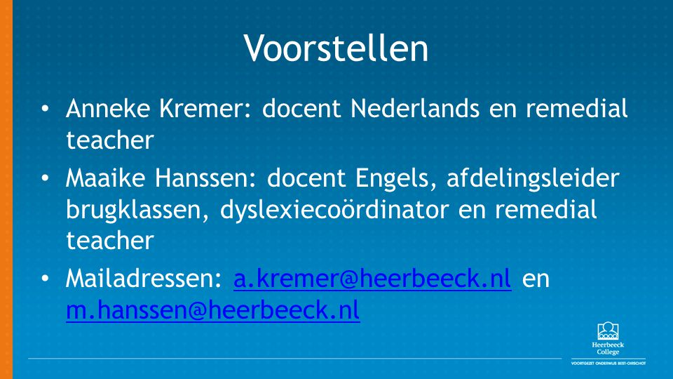 Voorstellen Anneke Kremer: docent Nederlands en remedial teacher