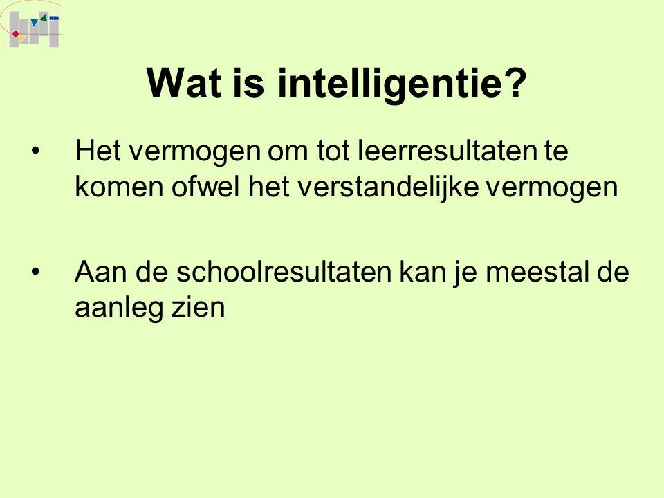 Wat is intelligentie Het vermogen om tot leerresultaten te komen ofwel het verstandelijke vermogen.